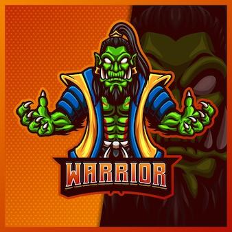 Orc viking warrior mascotte esport logo design illustrazioni modello, orc cartoon style