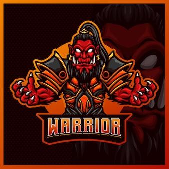 Orco guerriero mascotte esport logo design illustrazioni modello, orco con ascia stile cartone animato Vettore Premium