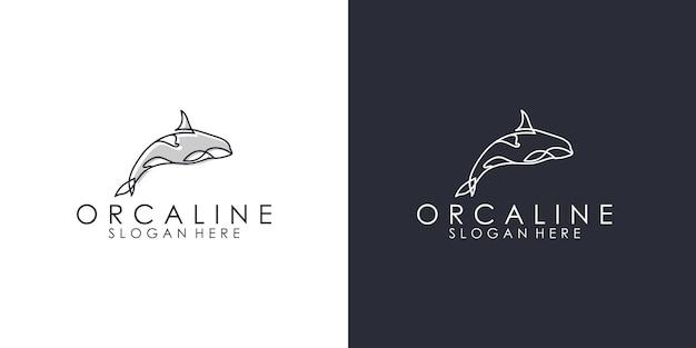 Modelli di design del logo linea orca