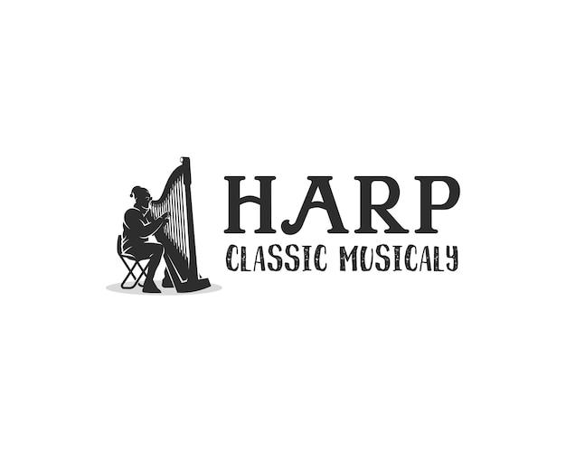 Logo dell'orchestra .silhouette di un uomo che suona il modello di progettazione del logo dell'arpa