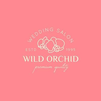 Modello di progettazione del logo dell'orchidea in semplice stile lineare minimale. emblema floreale vettoriale e icona per boutique di nozze, negozio di moda