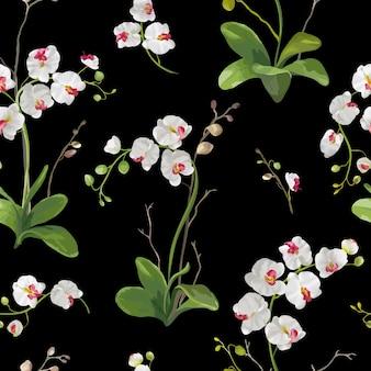 Fondo tropicale dei fiori e delle foglie dell'orchidea. modello senza cuciture in