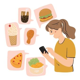 Ordina l'illustrazione del concetto di cibo online Vettore Premium