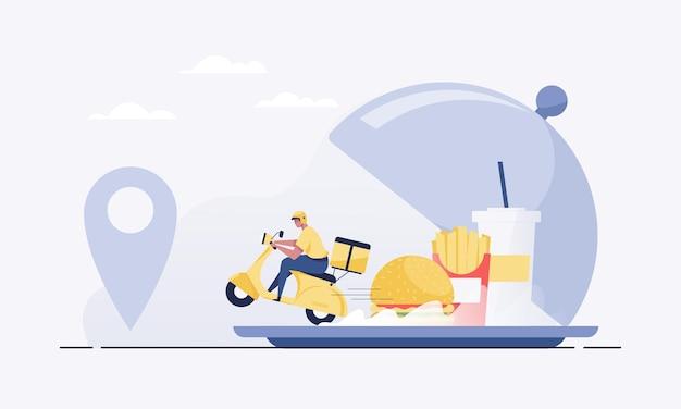 Ordina alimenti online dall'app tramite smartphone. consegna veloce di cibo.