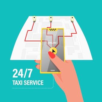 Ordina un taxi per telefono e tramite l'applicazione mobile. mappa con navigazione gps.