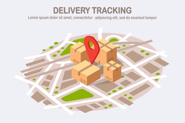 Tracciamento dell'ordine. pacco 3d isometrico con perno, puntatore sulla mappa. spedizione di box, trasporto merci
