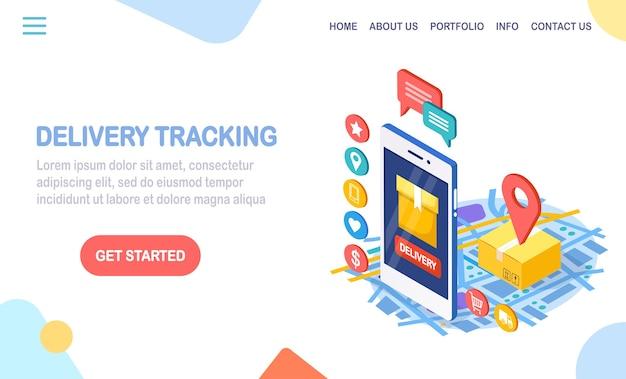 Tracciamento dell'ordine. telefono 3d isometrico con app di servizio di consegna. spedizione di box, trasporto merci