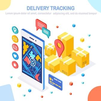 Tracciamento dell'ordine. telefono isometrico con app di servizio di consegna. spedizione di box, trasporto merci.