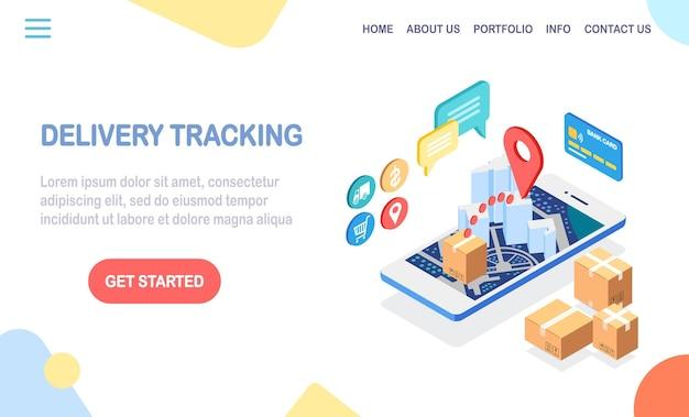 Tracciamento dell'ordine. telefono cellulare con app di servizio di consegna. spedizione di pacchi, trasporto merci