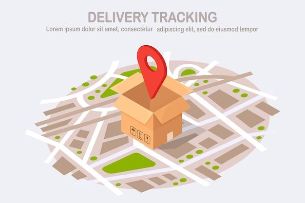 Tracciamento dell'ordine. pacco aperto con pin, puntatore sulla mappa. spedizione di scatola, pacco, trasporto merci