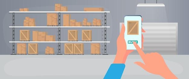 Ordinare un pacco tramite telefono. ordinazione online di merci dal magazzino. ampio magazzino con cassetti. rack con cassetti e scatole. scatole di cartone. vettore.