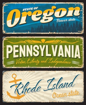 Piatti invecchiati oregon, pennsylvania e rhode island con simboli degli stati