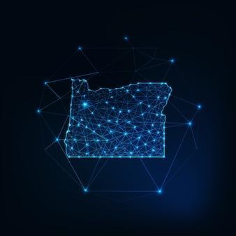 Oregon usa mappa sagoma incandescente contorno fatto di stelle linee punti triangoli, forme poligonali basse. comunicazione, concetto di tecnologie internet. wireframe futuristico