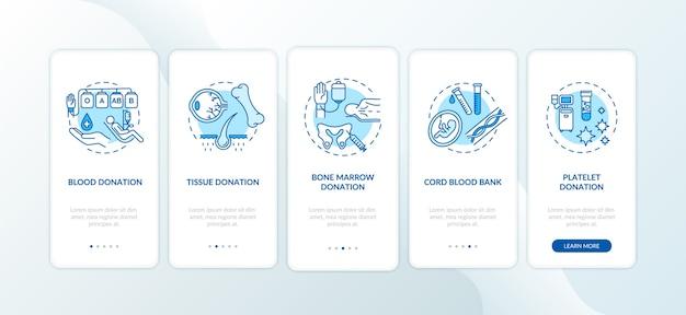 Schermata della pagina dell'app mobile di onboarding per la donazione di organi con concetti