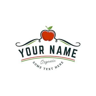 Modello di logo di apple farm biologica