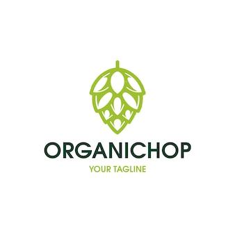 Modello di logo di luppolo di birra biologica