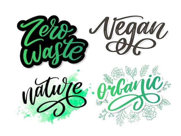 Pennello organico parola disegnata a mano organica con le foglie verdi. etichetta, modello logo per prodotti biologici, mercati alimentari sani.