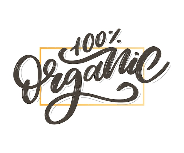 Scritte organiche a pennello. parola disegnata a mano organica con foglie verdi. etichetta, modello di logo per prodotti biologici, mercati alimentari sani.