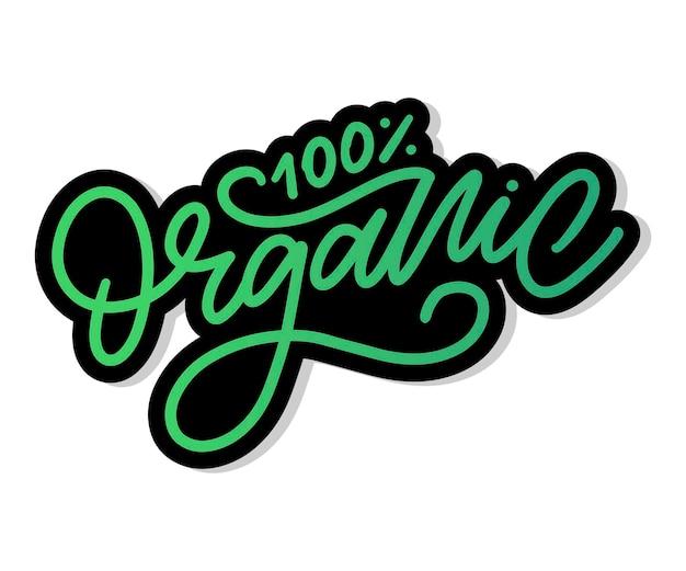 Lettering pennello organico. etichetta biologica