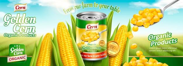 Banner di mais in scatola biologico con mais delizioso