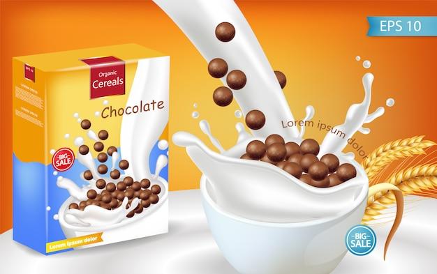 Mockup realistico di spruzzi di latte cereali biologici al cioccolato