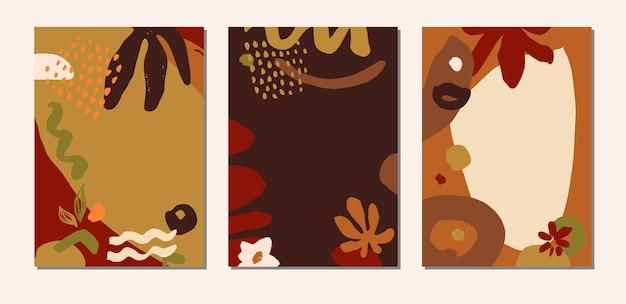 Collage organico disegnato a mano in terracotta terrosa colori astratti copertine botaniche, carte, modelli artistici di social media. fondali sani a base di erbe naturali universali creativi. illustrazione vettoriale eps 10