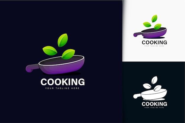 Design del logo di cucina biologica con gradiente
