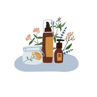 Flacone cosmetico biologico, barattolo e tubo. cosmetici a base di erbe. prodotti per la cura con leves. illustrazione disegnata a mano piatta.