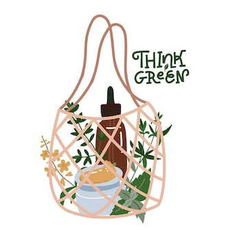 Flaconi e tubi cosmetici biologici in borsa a rete. illustrazione disegnata a mano piatta.