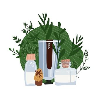 Concetto cosmetico biologico - bottiglie e tubi, piante ed erbe aromatiche.