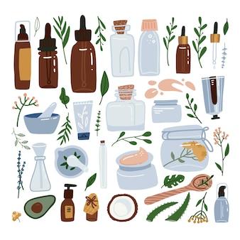 Set grande di packaging cosmetico biologico - bottiglie, barattoli di vetro, tubi. collezione di cosmetici a base di erbe.