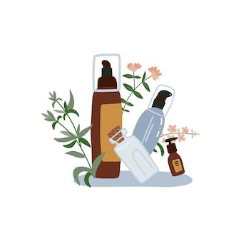 Composizione di cosmetici biologici - bottiglie e tubi con erbe selvatiche. stile disegnato a mano piatto.