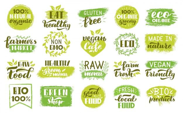 Adesivi ecologici biologici. etichette alimentari naturali verdi, badge vegetariani alimenti sani. insieme ecologico dell'illustrazione del bollo del prodotto fresco vegano. prodotto vegetariano, fresco distintivo ecologico