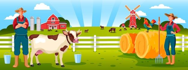 Illustrazione di agricoltura familiare biologica con cowboy, donna contadina, pagliaio, mucca, gallo, mulino, recinzione