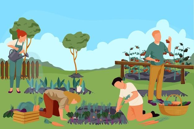 Composizione piatta fattoria biologica con paesaggio esterno e giardino con persone che innaffiano piante diserbo raccogliendo frutti