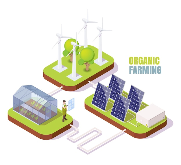 Fattoria biologica isometrica serra turbine eoliche pannelli solari serra utilizzando energia alternativa pulita ...