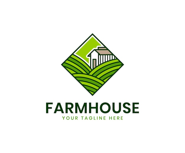 Modello di logo di agricoltura biologica con marchio di prodotti biologici di piante di paesaggio di campo di agricoltura verde