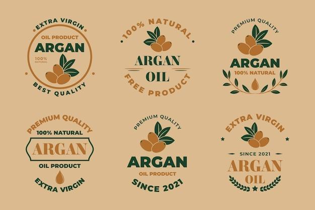 Collezione di badge olio di argan piatto biologico