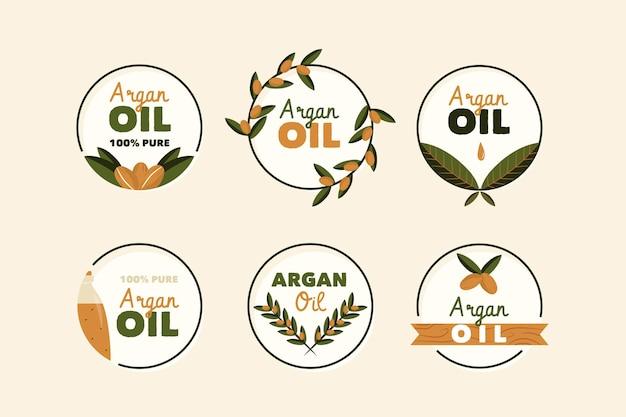Confezione di badge olio di argan biologico piatto