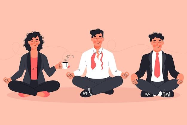Pack di meditando di uomini d'affari piatti organici