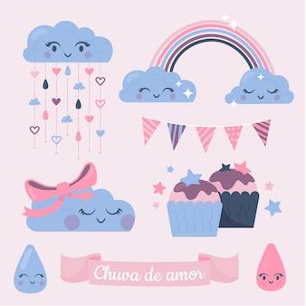 Set di elementi decorativi organici chuva de amor piatti