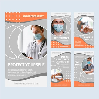 Raccolta di storie instagram di coronavirus piatte organiche