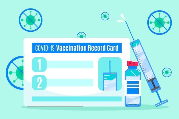 Modello di scheda di registrazione della vaccinazione contro il coronavirus piatto organico