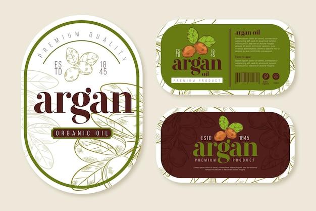 Confezione di badge olio di argan design piatto biologico