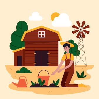 Professione agricola organica design piatto