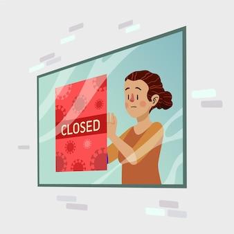 Persone organiche di design piatto che appendono un cartello chiuso