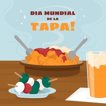Illustrazione di piatto biologico dia mundial de la tapa