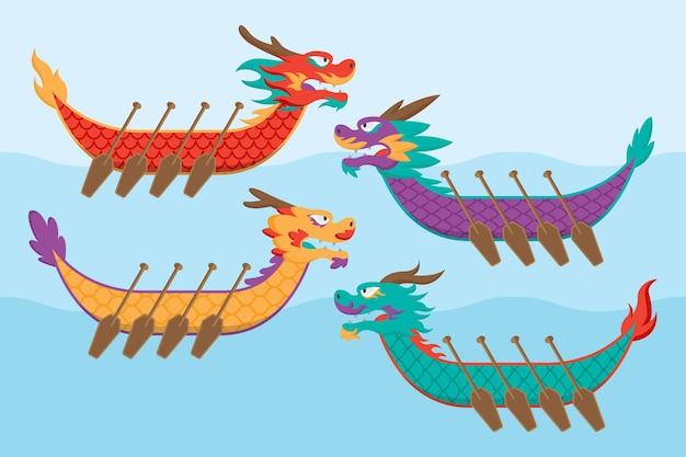 Collezione organica di dragon boat piatta