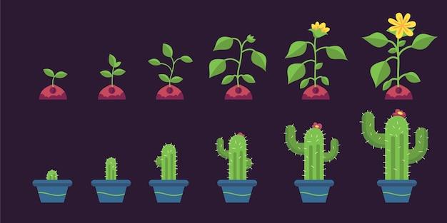 Fotogrammi di animazione di elementi piatti organici