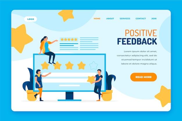Modello di pagina di destinazione con feedback piatto organico